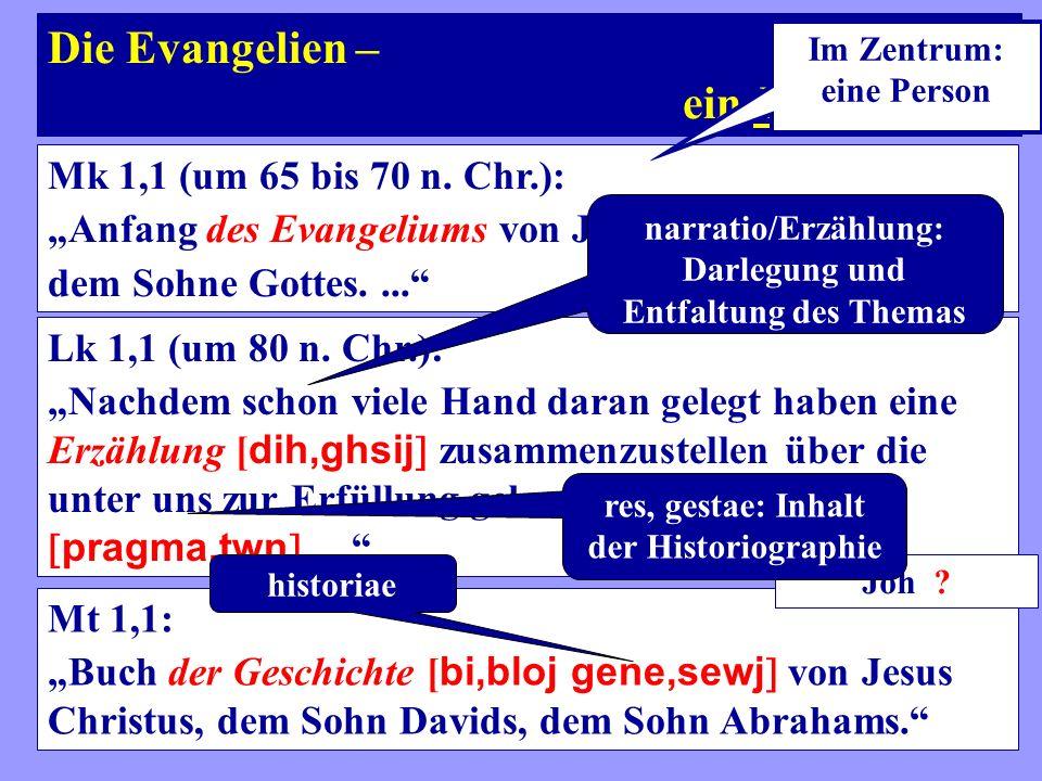 Die Evangelien – ein Evangelium Mk 1,1 (um 65 bis 70 n. Chr.):