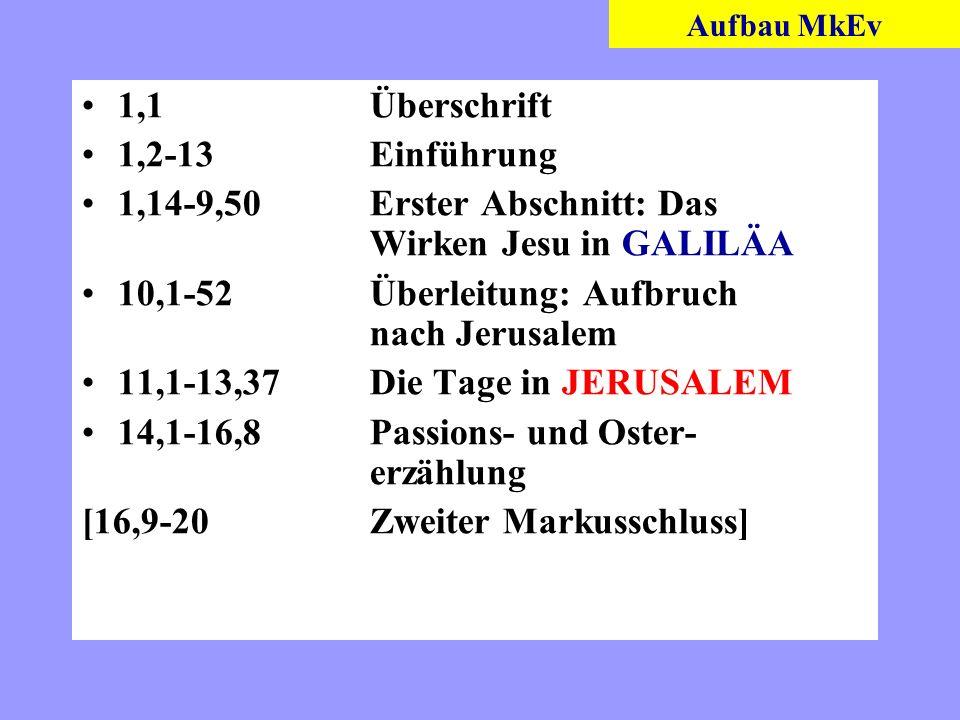1,14-9,50 Erster Abschnitt: Das Wirken Jesu in GALILÄA