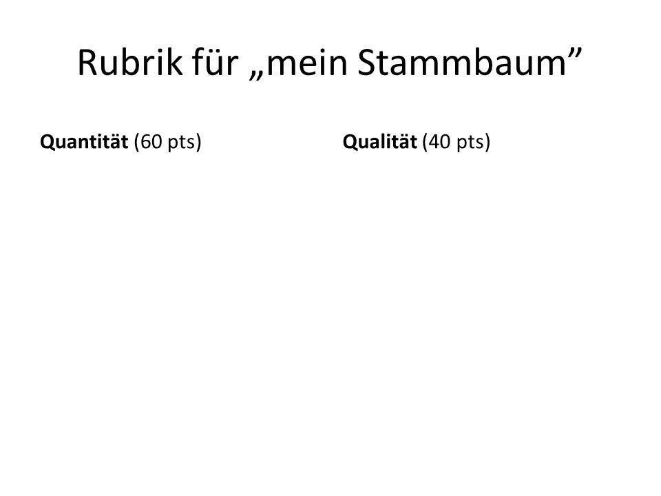 """Rubrik für """"mein Stammbaum"""