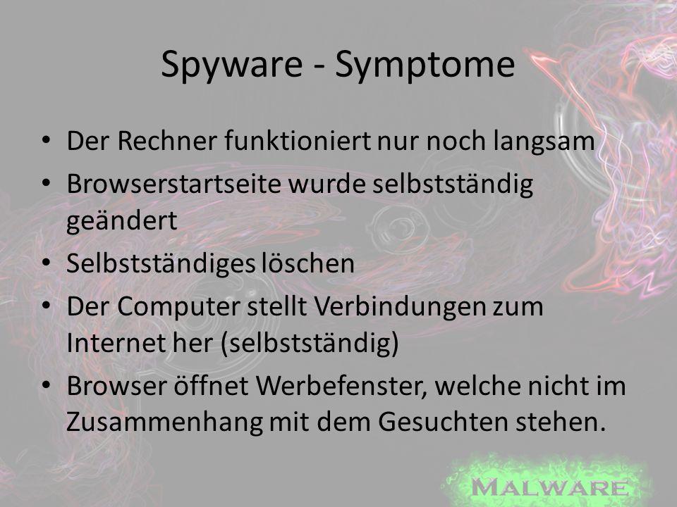 Spyware - Symptome Der Rechner funktioniert nur noch langsam