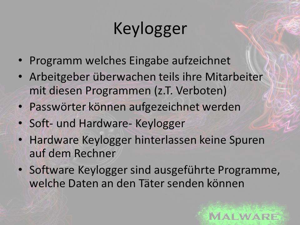 Keylogger Programm welches Eingabe aufzeichnet