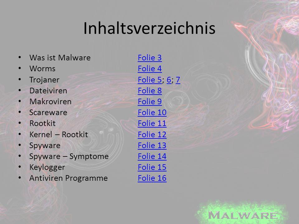 Inhaltsverzeichnis Was ist Malware Folie 3 Worms Folie 4
