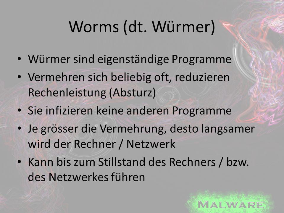 Worms (dt. Würmer) Würmer sind eigenständige Programme