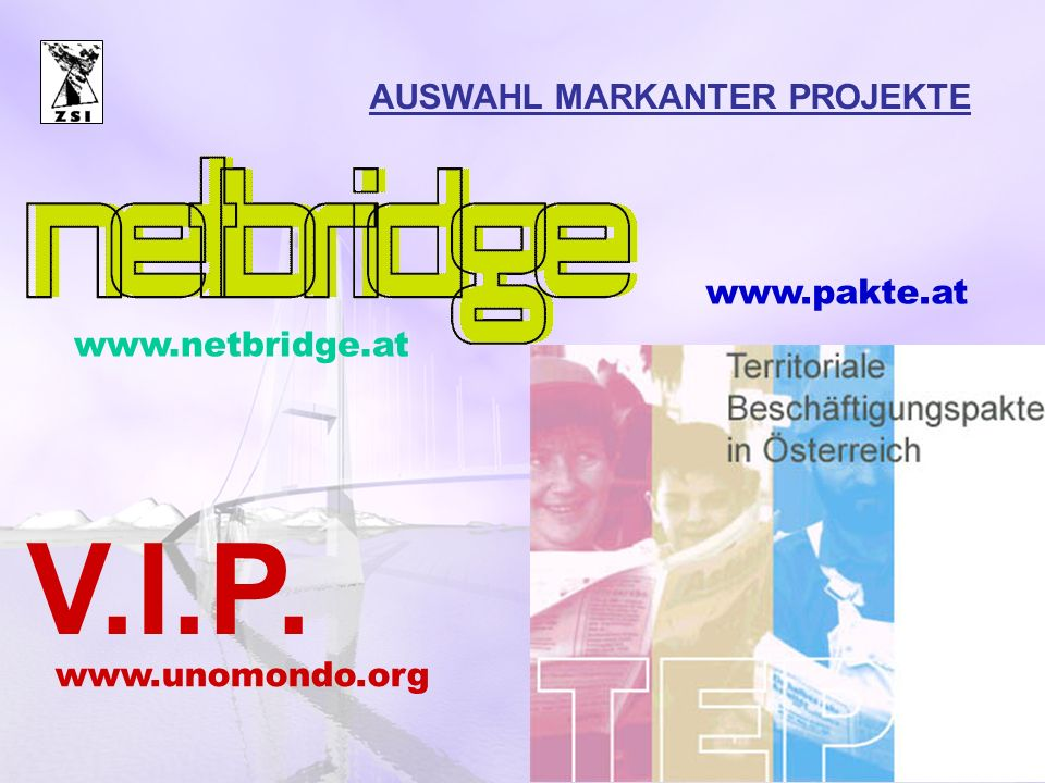 V.I.P. AUSWAHL MARKANTER PROJEKTE www.pakte.at www.netbridge.at