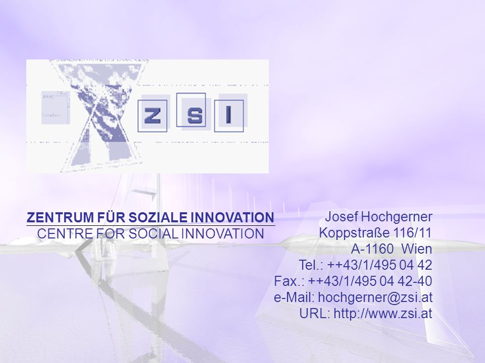 ZENTRUM FÜR SOZIALE INNOVATION CENTRE FOR SOCIAL INNOVATION
