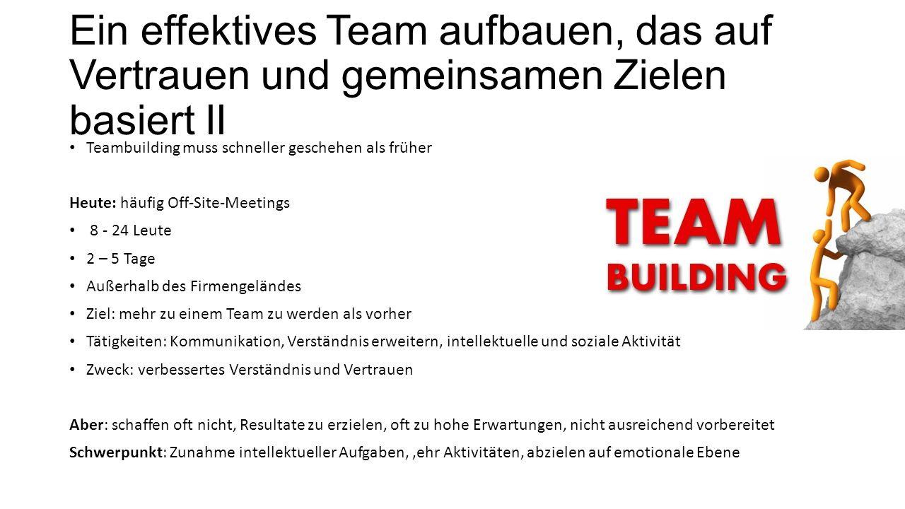 Ein effektives Team aufbauen, das auf Vertrauen und gemeinsamen Zielen basiert II