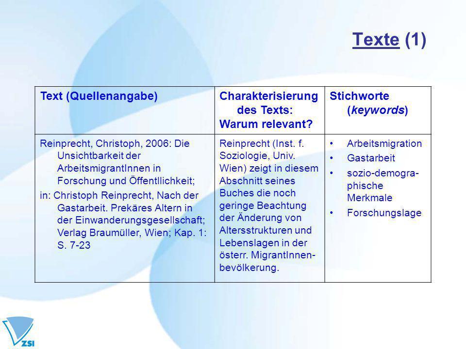 Texte (1) Text (Quellenangabe) Charakterisierung des Texts: