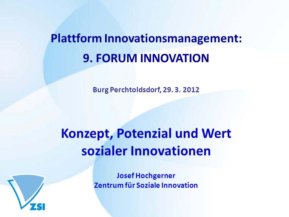 Konzept, Potenzial und Wert sozialer Innovationen
