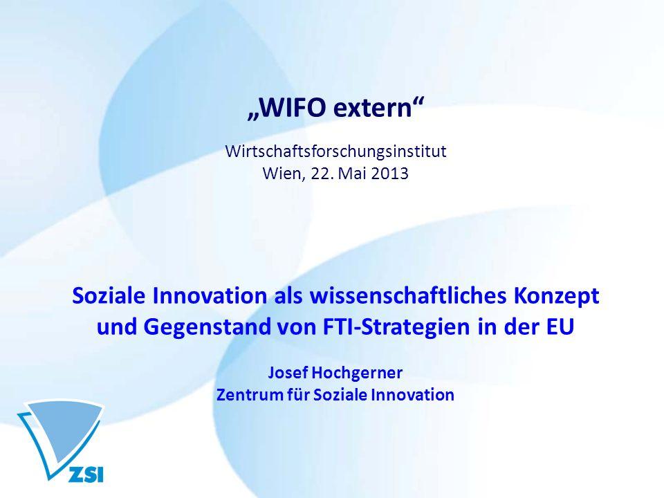 """""""WIFO extern Soziale Innovation als wissenschaftliches Konzept"""