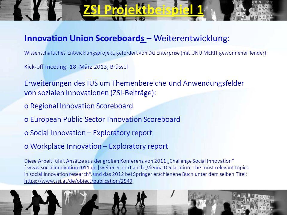ZSI Projektbeispiel 1 Innovation Union Scoreboards – Weiterentwicklung: