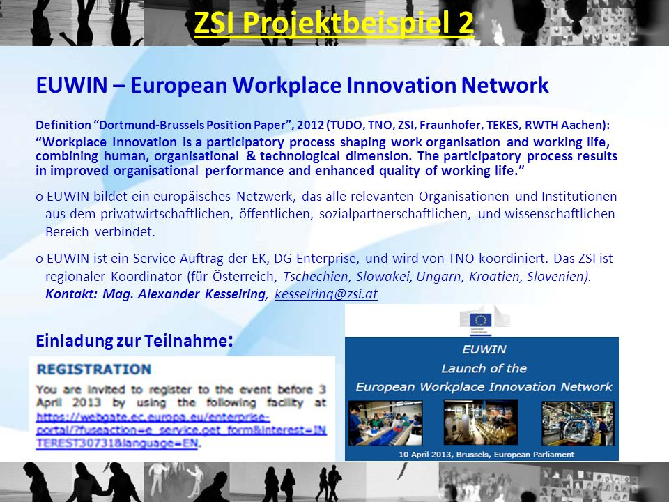 ZSI Projektbeispiel 2 EUWIN – European Workplace Innovation Network