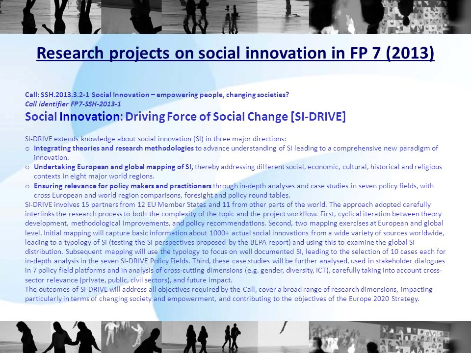Research projects on social innovation in FP 7 (2013)