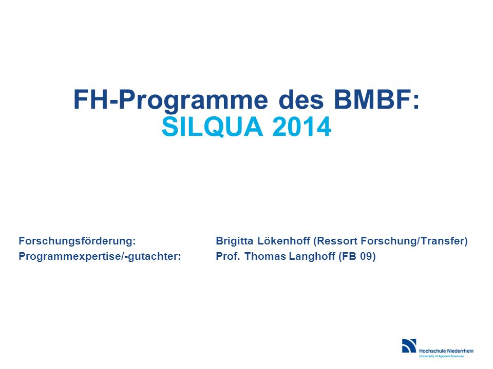 FH-Programme des BMBF: SILQUA 2014