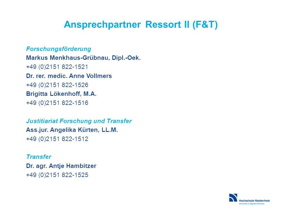 Ansprechpartner Ressort II (F&T)