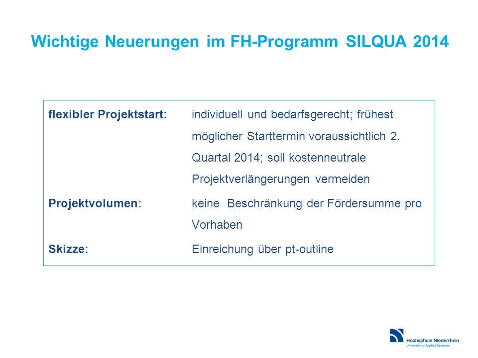 Wichtige Neuerungen im FH-Programm SILQUA 2014