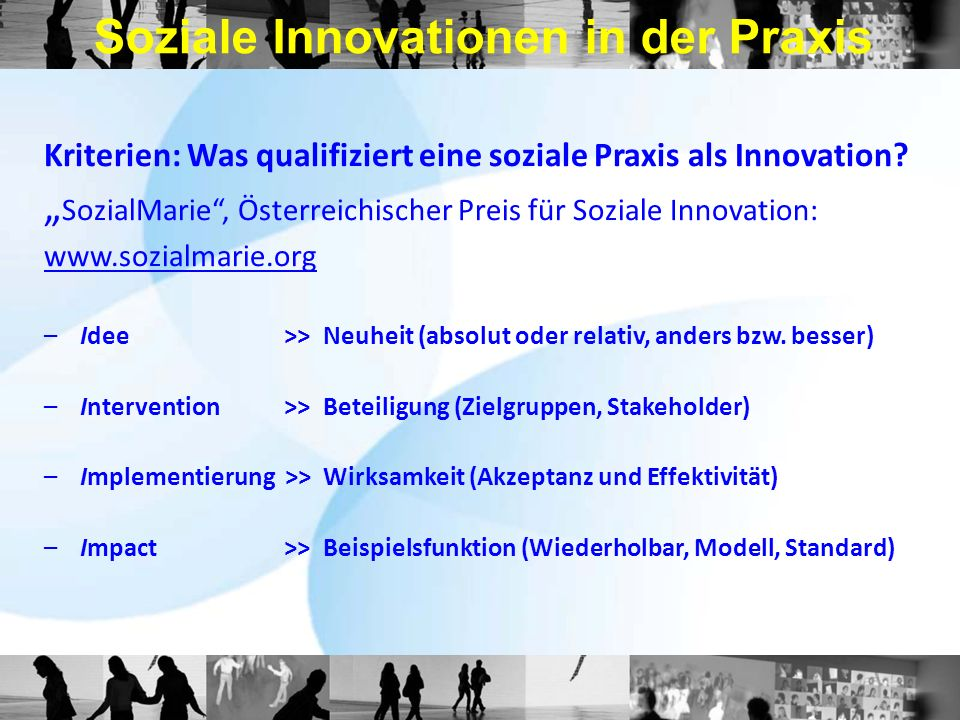 Soziale Innovationen in der Praxis