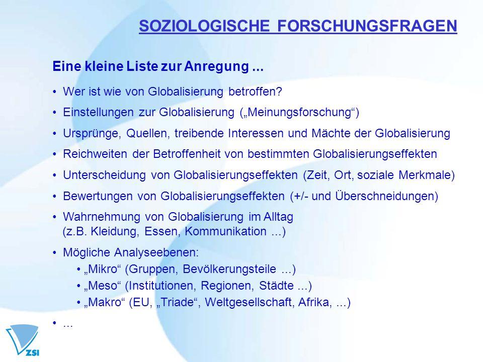 SOZIOLOGISCHE FORSCHUNGSFRAGEN