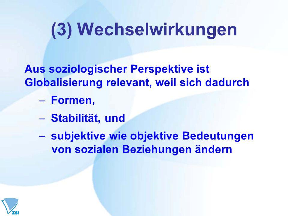 (3) Wechselwirkungen Aus soziologischer Perspektive ist