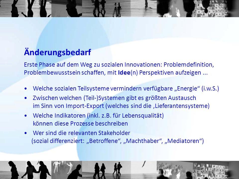 Änderungsbedarf Erste Phase auf dem Weg zu sozialen Innovationen: Problemdefinition,