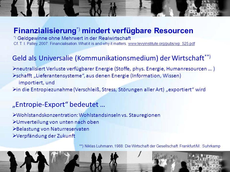 Finanzialisierung*) mindert verfügbare Resourcen