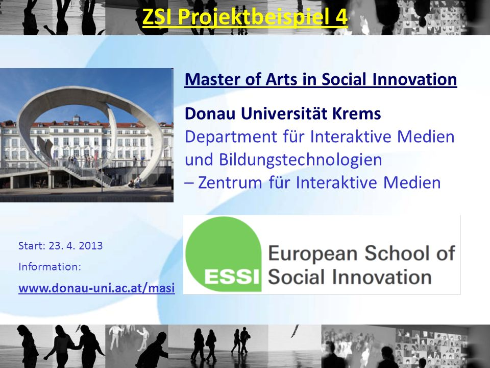 ZSI Projektbeispiel 4 Master of Arts in Social Innovation