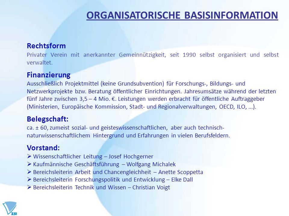ORGANISATORISCHE BASISINFORMATION