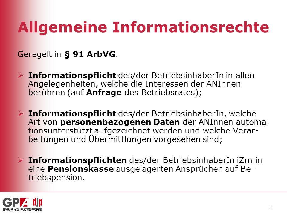 Allgemeine Informationsrechte