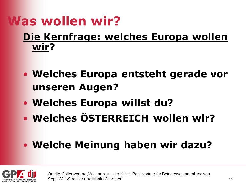 Was wollen wir Die Kernfrage: welches Europa wollen wir