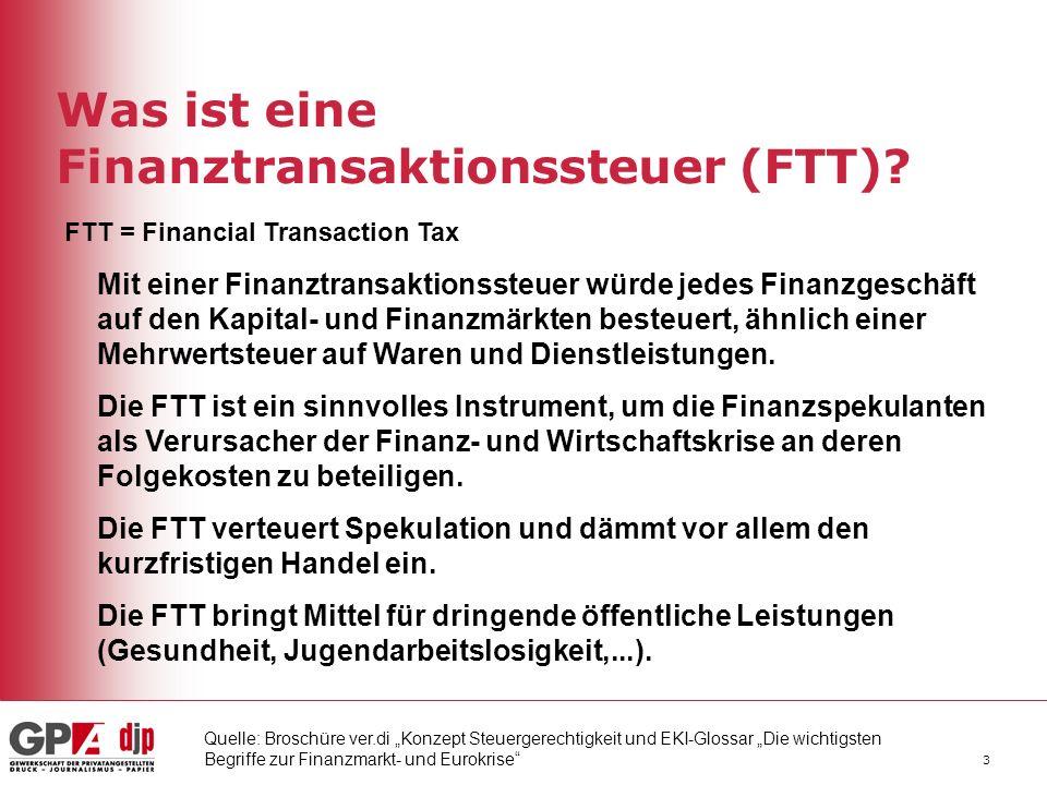 Was ist eine Finanztransaktionssteuer (FTT)