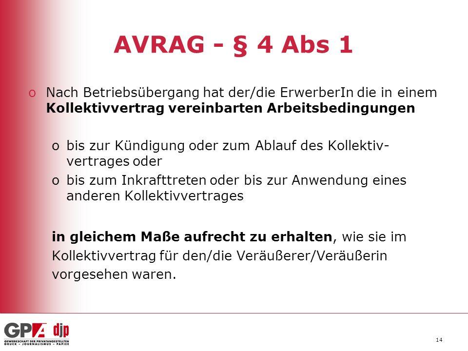 AVRAG - § 4 Abs 1 Nach Betriebsübergang hat der/die ErwerberIn die in einem Kollektivvertrag vereinbarten Arbeitsbedingungen.