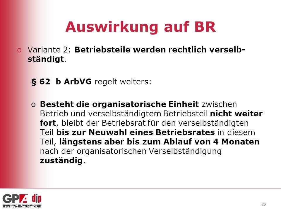 Auswirkung auf BR Variante 2: Betriebsteile werden rechtlich verselb-ständigt. § 62 b ArbVG regelt weiters: