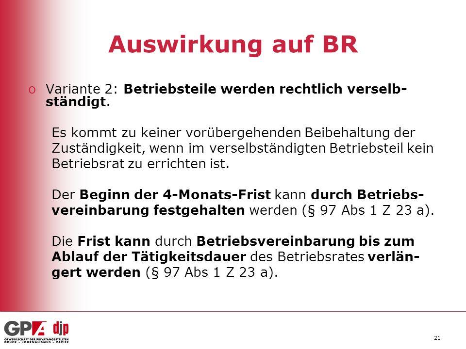 Auswirkung auf BR Variante 2: Betriebsteile werden rechtlich verselb-ständigt. Es kommt zu keiner vorübergehenden Beibehaltung der.