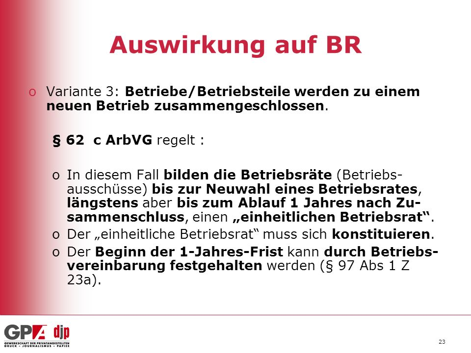 Auswirkung auf BR Variante 3: Betriebe/Betriebsteile werden zu einem neuen Betrieb zusammengeschlossen.