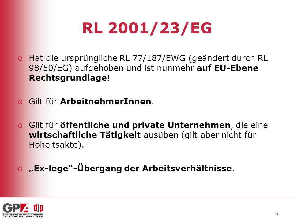 RL 2001/23/EG Hat die ursprüngliche RL 77/187/EWG (geändert durch RL 98/50/EG) aufgehoben und ist nunmehr auf EU-Ebene Rechtsgrundlage!