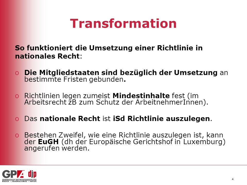 Transformation So funktioniert die Umsetzung einer Richtlinie in