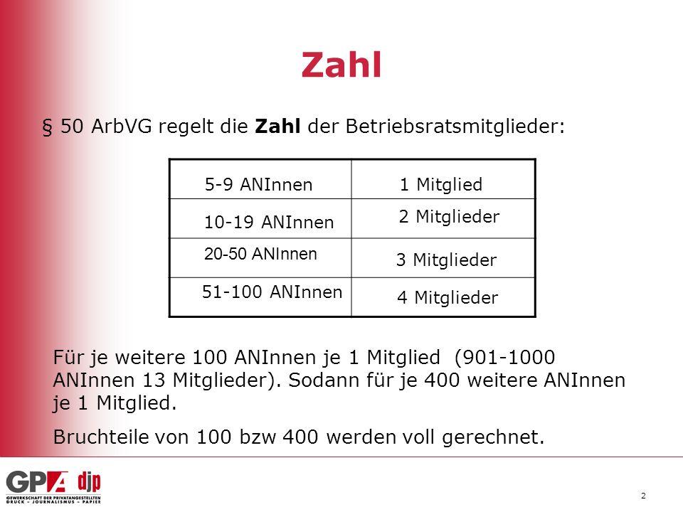 Zahl § 50 ArbVG regelt die Zahl der Betriebsratsmitglieder: