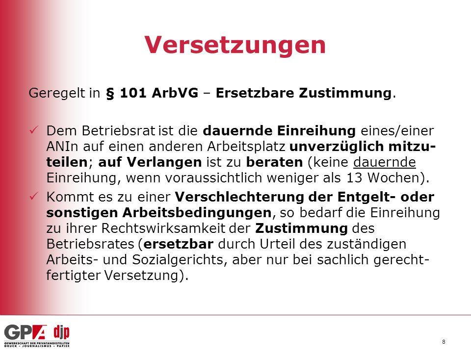 Versetzungen Geregelt in § 101 ArbVG – Ersetzbare Zustimmung.