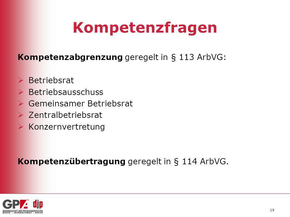 Kompetenzfragen Kompetenzabgrenzung geregelt in § 113 ArbVG: