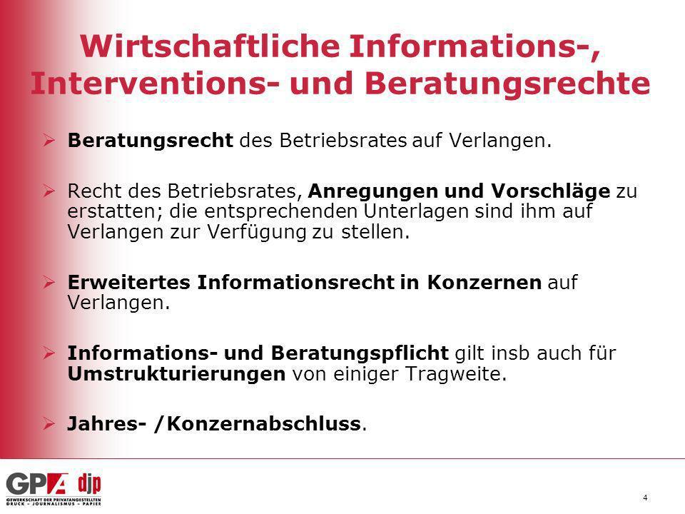 Wirtschaftliche Informations-, Interventions- und Beratungsrechte