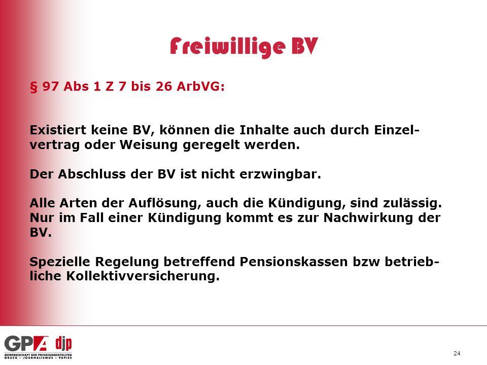 Freiwillige BV § 97 Abs 1 Z 7 bis 26 ArbVG: