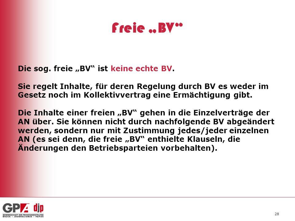 """Freie """"BV Die sog. freie """"BV ist keine echte BV."""