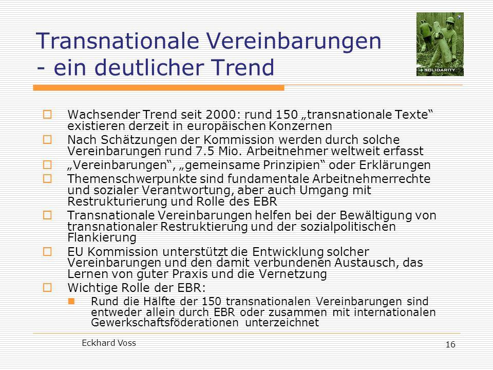 Transnationale Vereinbarungen - ein deutlicher Trend