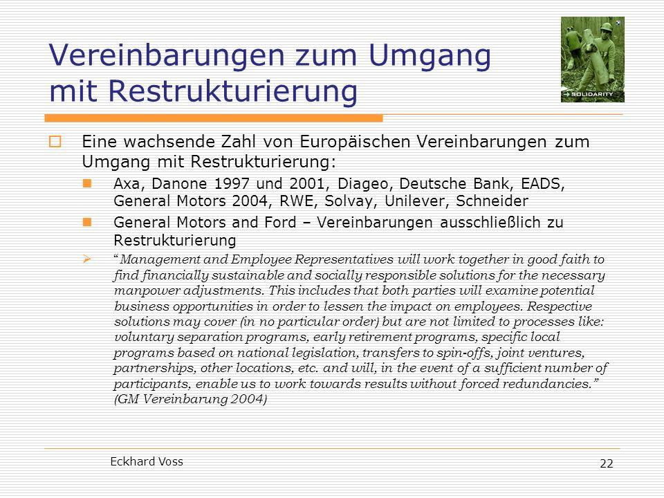 Vereinbarungen zum Umgang mit Restrukturierung