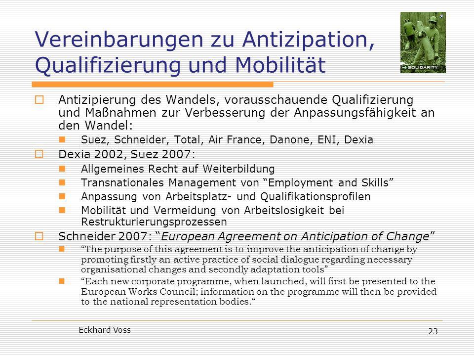 Vereinbarungen zu Antizipation, Qualifizierung und Mobilität