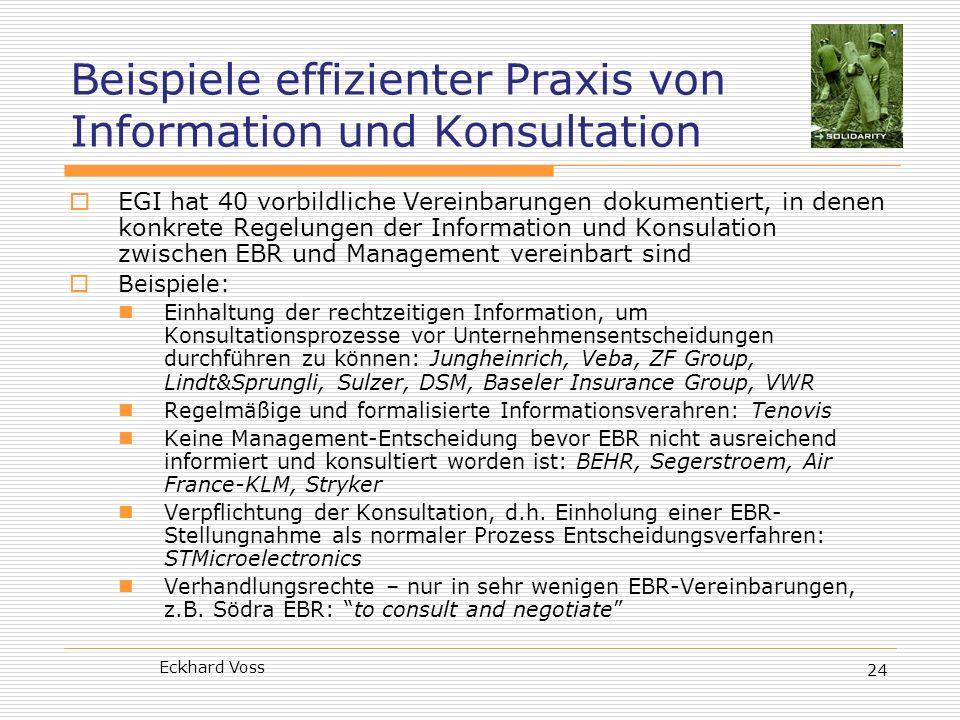 Beispiele effizienter Praxis von Information und Konsultation