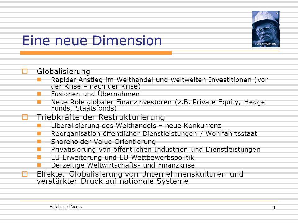 Eine neue Dimension Triebkräfte der Restrukturierung Globalisierung