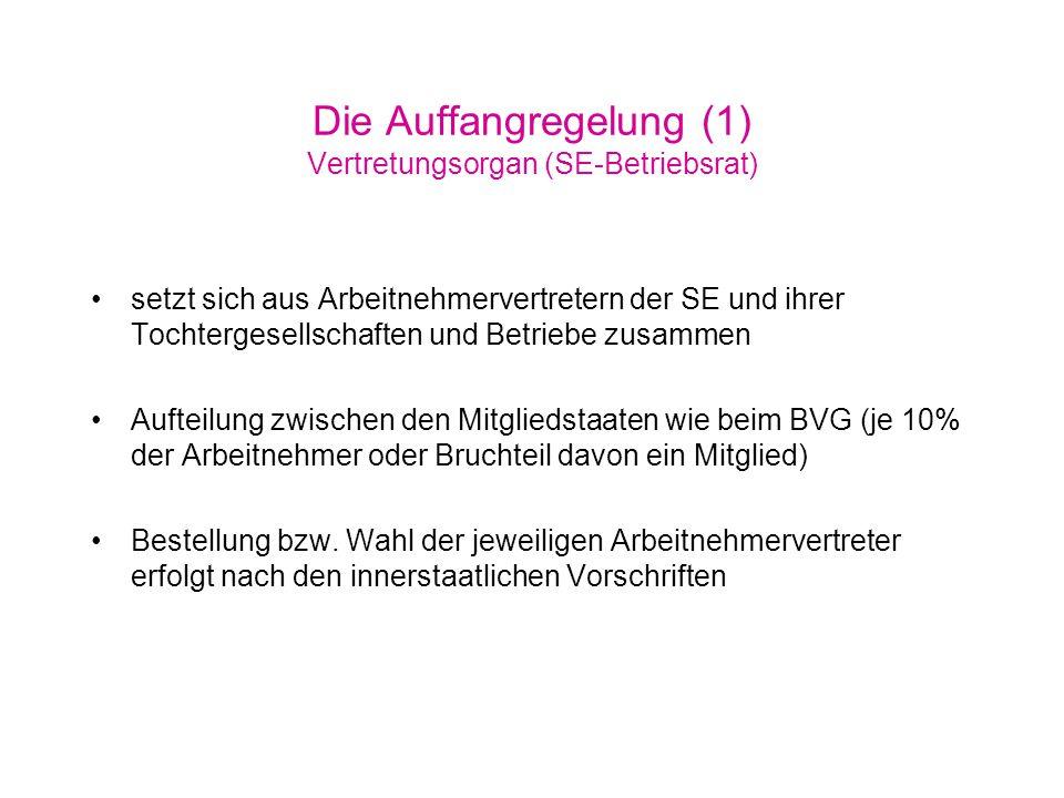 Die Auffangregelung (1) Vertretungsorgan (SE-Betriebsrat)
