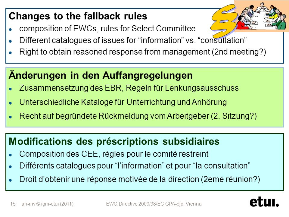 § Changes to the fallback rules Änderungen in den Auffangregelungen