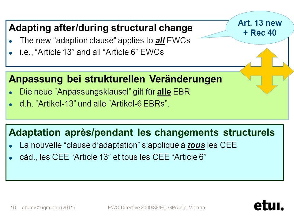 Anpassung bei strukturellen Veränderungen
