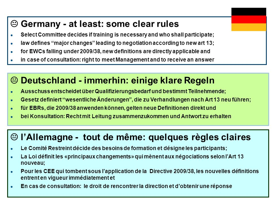  Germany - at least: some clear rules